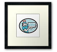 Vote Democrat Donkey Mascot Oval Cartoon Framed Print