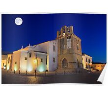 Faro Cathedral At Night Poster