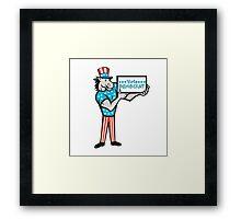 Vote Democrat Donkey Mascot Standing Cartoon Framed Print