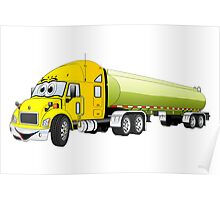 Semi Truck Yellow Green Tanker Truck Cartoon Poster