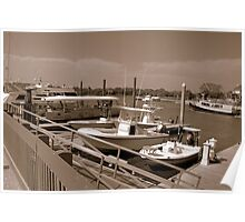 Isle of Palms harbour(b&w sepia)-SC Poster
