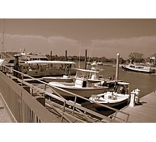Isle of Palms harbour(b&w sepia)-SC Photographic Print