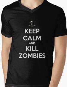 Keep Calm And Kill Zombies (Shirt & Stickers - Black) Mens V-Neck T-Shirt