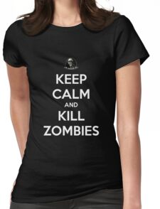 Keep Calm And Kill Zombies (Shirt & Stickers - Black) Womens Fitted T-Shirt