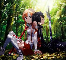 Asuna & Kirito in a forest - Sword Art Online by Spookles