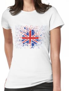 UK Union Jack Splash Colors Flag Womens Fitted T-Shirt