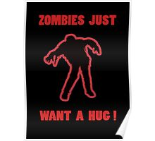 Zombie Hug Red Poster