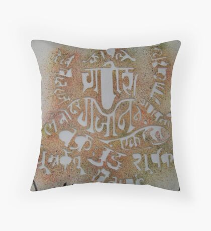 Lord Ganesh with Names Throw Pillow