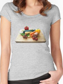 Vegetable Selection on Wooden Board Women's Fitted Scoop T-Shirt