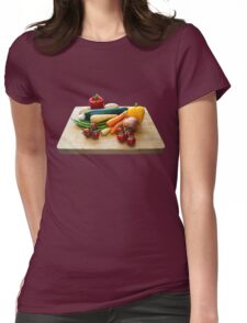 Vegetable Selection on Wooden Board Womens Fitted T-Shirt