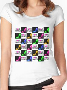 SIZZLING STILETTO I LOVE SHOES DESIGN Women's Fitted Scoop T-Shirt