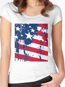 Drops Splash Colors America Flag  Women's Fitted Scoop T-Shirt