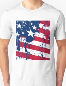 Drops Splash Colors America Flag  Unisex T-Shirt