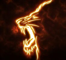 Lion on fire by pranavan