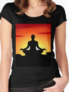 Male Yoga Meditating Women's Fitted Scoop T-Shirt