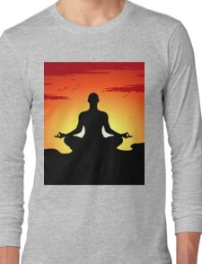 Male Yoga Meditating Long Sleeve T-Shirt