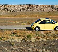 Yellow Volkswagen New Beetle by Sam Scholes
