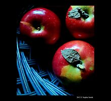 Malus Domestica - Red McIntosh Apples In Dark Blue Wicker Basket  by © Sophie W. Smith
