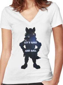 Starfox | Let's Rock and Roll Women's Fitted V-Neck T-Shirt
