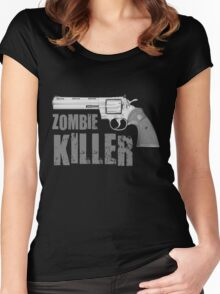 zombie killer black and white Women's Fitted Scoop T-Shirt