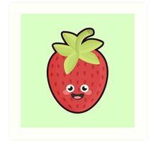 Kawaii Strawberry Art Print