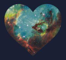 Green Galaxy Heart Kids Tee