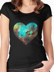 Green Galaxy Heart Women's Fitted Scoop T-Shirt