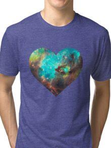 Green Galaxy Heart Tri-blend T-Shirt