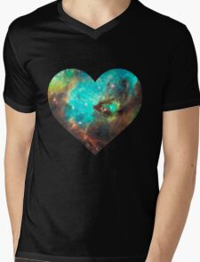 Green Galaxy Heart Mens V-Neck T-Shirt