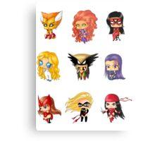 Chibi Heroines 3 Metal Print