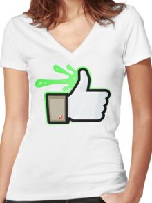 FACEBOOK X GHOSTBUSTERS (GB1 SLIMED) Women's Fitted V-Neck T-Shirt