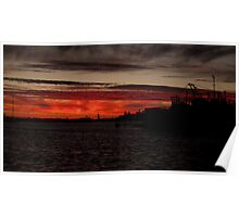 Red Paint Sunset over the Indian Ocean Poster