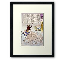 Humorous picture showing a monster on a boat or raft collecting Chinese Buddhist worshippers in a river 001 Framed Print
