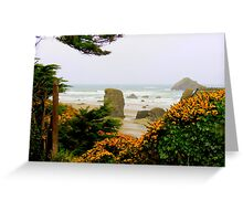 View Through The Scot's Broom..Bandon, Oregon Greeting Card