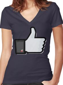 FACEBOOK X GHOSTBUSTERS (GB2) Women's Fitted V-Neck T-Shirt