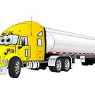 Semi Truck Yellow Silver Tanker Trailer Cartoon by Graphxpro