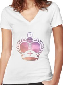 Rainbow Crown Sticker Women's Fitted V-Neck T-Shirt