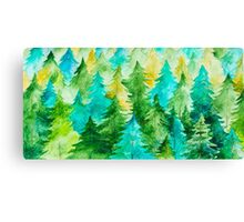Watercolor Forest Background Canvas Print