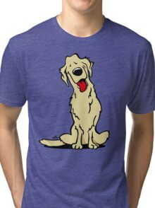 Cartoon Golden retriever dog Tri-blend T-Shirt
