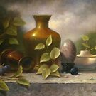 Golden Vase with Marble Egg by paulabrams