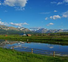 Montana ranch with Rockies by Claudio Del Luongo