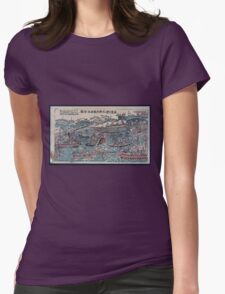 Naval battle scene   ships and small boats engaged in battle in a bay near a fort 001 T-Shirt