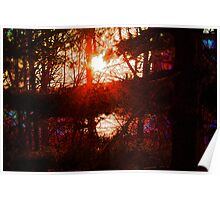 Stained Glass Sunset on The Hudson  Poster