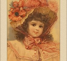 Vintage Girl with Flower Hat Greetings by Yesteryears
