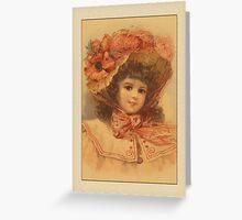 Vintage Girl with Flower Hat Greetings Greeting Card