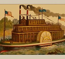 Vintage Mississippi Boat Greetings by Yesteryears