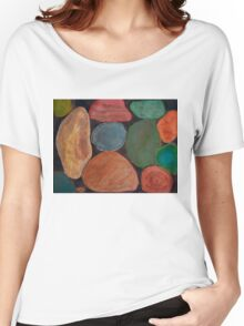 Lovely colourful Stones on dark Background Women's Relaxed Fit T-Shirt
