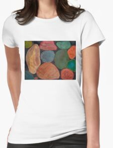 Lovely colourful Stones on dark Background Womens Fitted T-Shirt