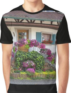 House and Flowers Graphic T-Shirt