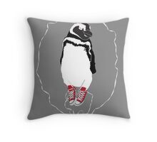 Happy Penguin in Converse Throw Pillow